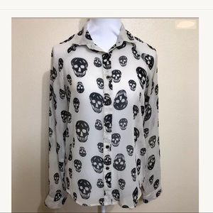 Sheer Skull Button Down Top